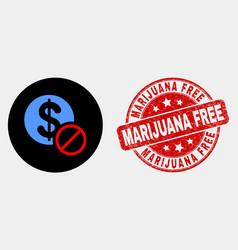forbidden dollar icon and distress vector image
