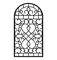 forged fence gothic door design vector image