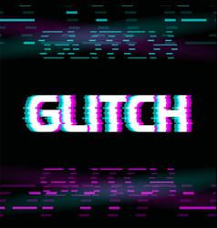 Glitch effect colorful on dark vector