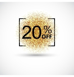 Gold sale 20 percent on background vector