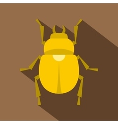 Gold scarab beetle icon flat style vector image