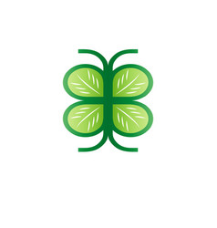 green leaf icon forms the wings of a butterfly vector image