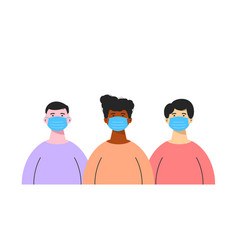 group different ethnic men wearing medical vector image