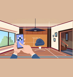Hand using smart home app of control system over vector