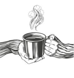 Hands a girl holding a cup coffee tea good vector