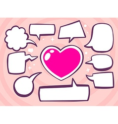 Heart with speech comics bubbles on pink vector
