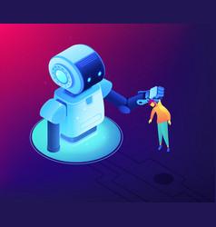 Human-robot interaction concept isometric vector