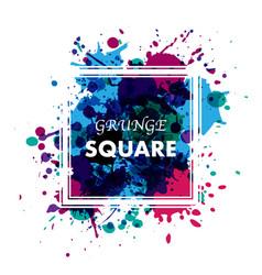 Ink blots grunge square frame vector