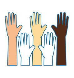 isolate multiculturalism hands vector image