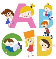 kids with letters vector image