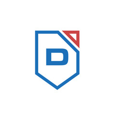 Letter d initial shield logo design vector