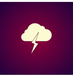 Lightning bolt weather flat line icon infographic vector image