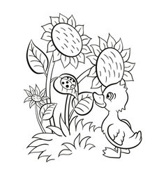 Little cute duckling stands near the sunflowers an vector image