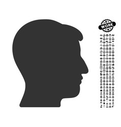 Man head icon with professional bonus vector