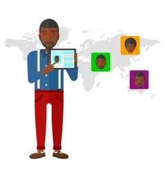 Man holding tablet computer with social media vector image