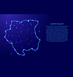 Map suriname from the contours network blue vector
