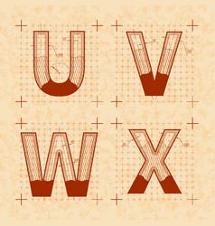 medieval inventor sketches u v w x letters vector image