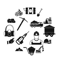 Mining icons simple set vector