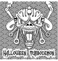 monochrome halloween turbodemon poster vector image