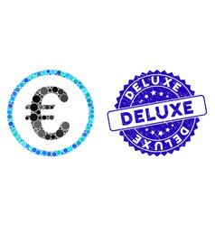 Mosaic euro coin icon with scratched deluxe seal vector