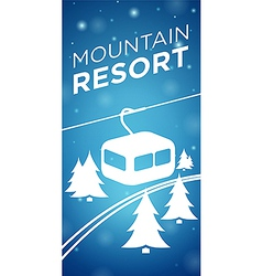 Mountain resort ropeway and spruce on blue vector image