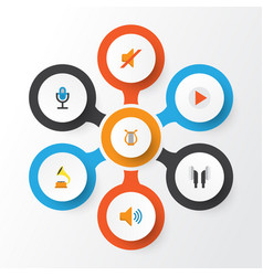 Music flat icons set collection of quiet button vector