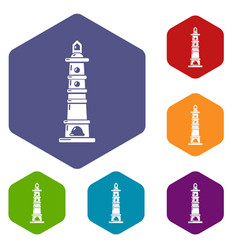 Navigate tower icons hexahedron vector