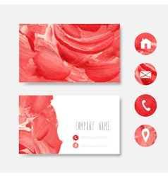 Oilpainted business card vector