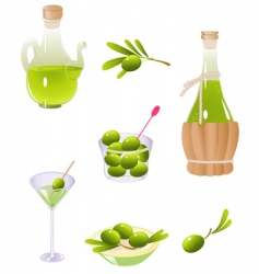 olives and olive oil vector image vector image
