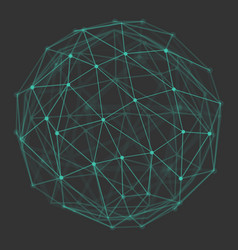 Polygonal 3d globe with connecting dots and lines vector