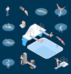 Public swimming pool isometric set vector