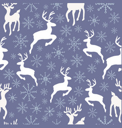 reindeers and snowflakes seamless pattern vector image