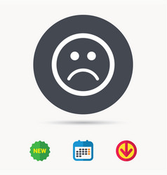 Sad smiley icon bad feedback sign vector