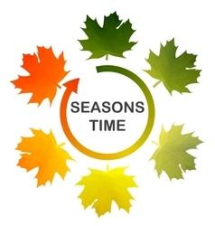 Seasons time Six multicolored maple leafs Arrow vector image