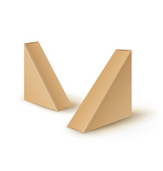 set of brown blank cardboard triangle take vector image