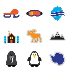 Set of flat web icons on white background Arctic vector