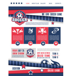 soccer or football sport club landing page design vector image