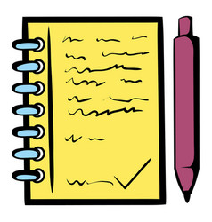 Spiral notebook and ballpoint pen icon vector