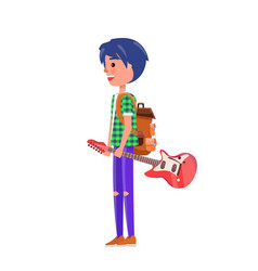 Student teenager with music instrument vector