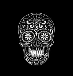 stylized decorative sugar skull on black vector image