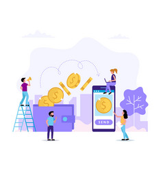 transfering money sending money from wallet to vector image