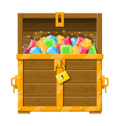 Treasure chest full of various diamonds vector