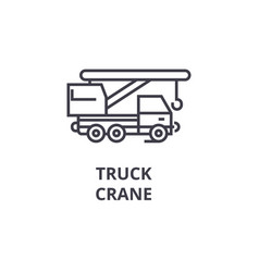 truck crane line icon sign vector image