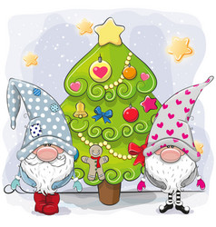 Two cute gnomes and christmas tree vector