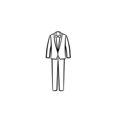wedding suit hand drawn sketch icon vector image