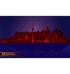 Beijing city night skyline vector image