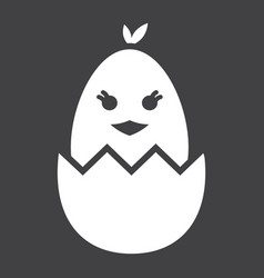 chick hatched from an egg glyph icon easter vector image vector image