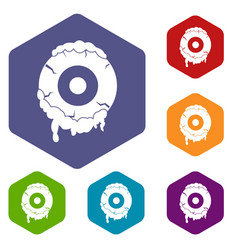 scary eyeball icons set hexagon vector image vector image
