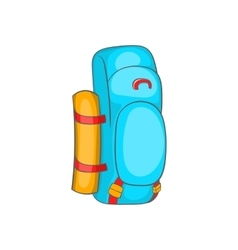 Tourist backpack icon in cartoon style vector