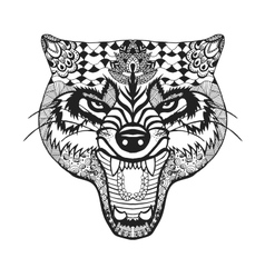 Zentangle stylized wolf Sketch for tattoo or t vector image